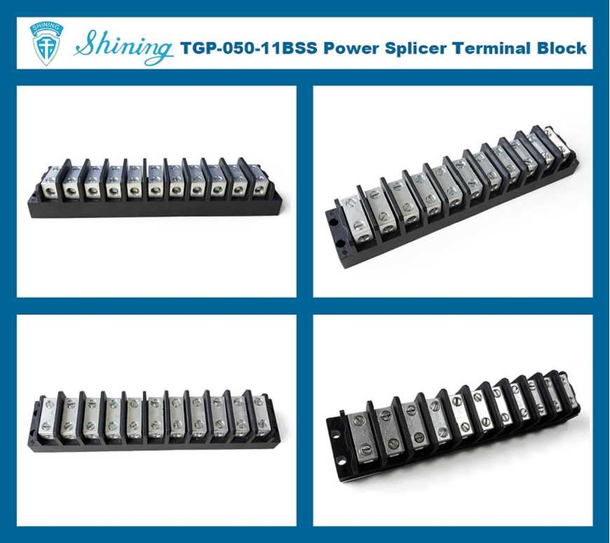 TGP-050-11BSS 600V 50A 11 Way Power Splicer Terminal Block