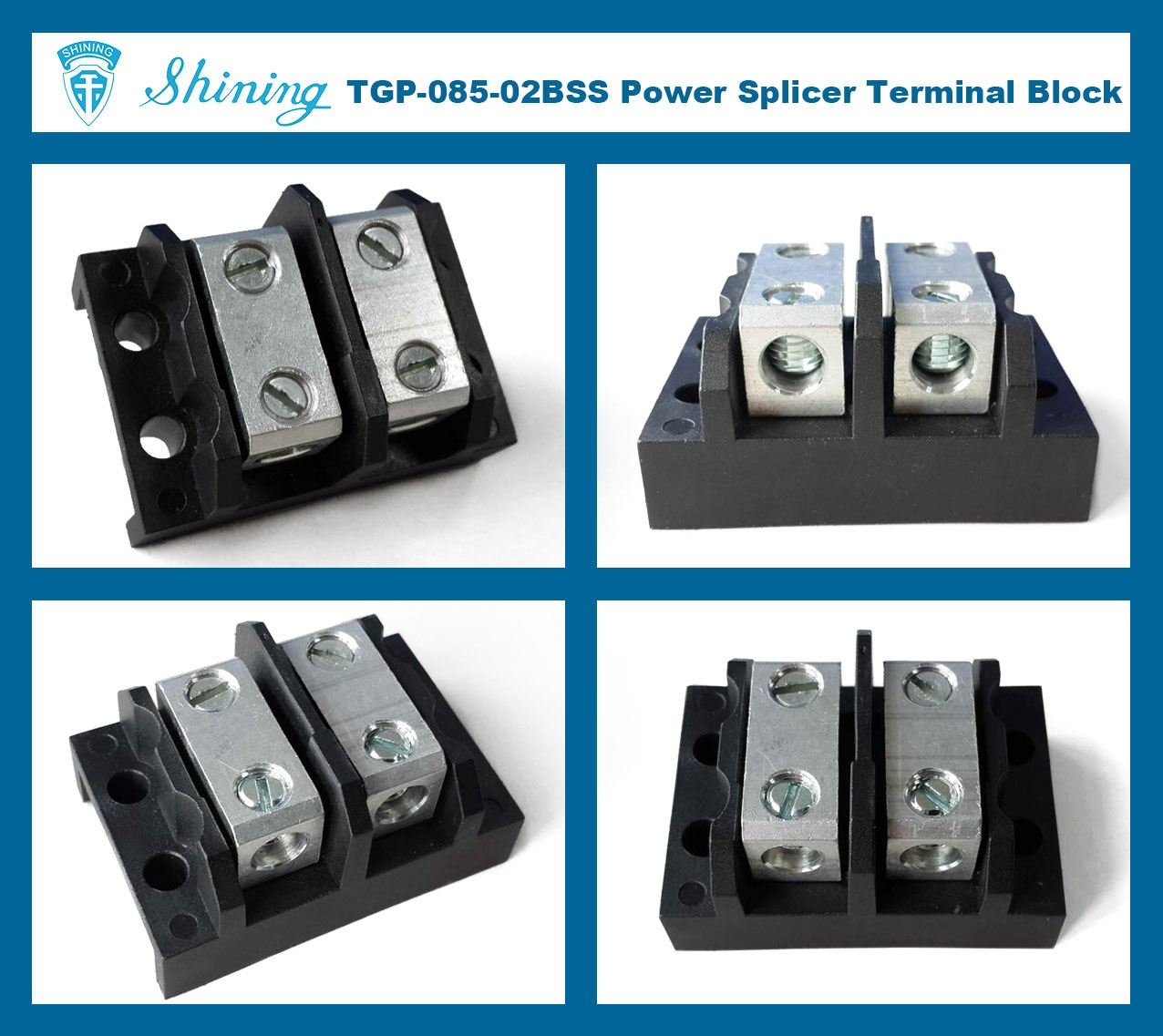TGP-085-02BSS 600V 85A 2 Way Power Splicer Terminal Block