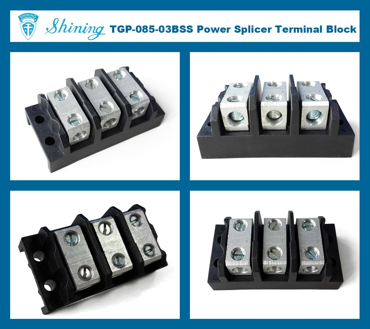 TGP-085-03BHH 600V 85A 3 Way Power Splicer Terminal Block