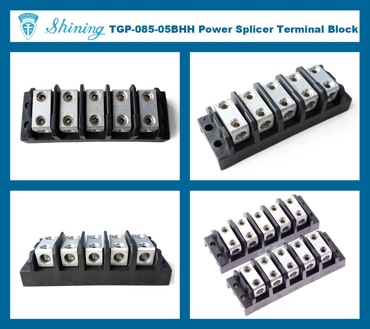 TGP-085-05BHH 600V 85A 5 Way Power Splicer Terminal Block