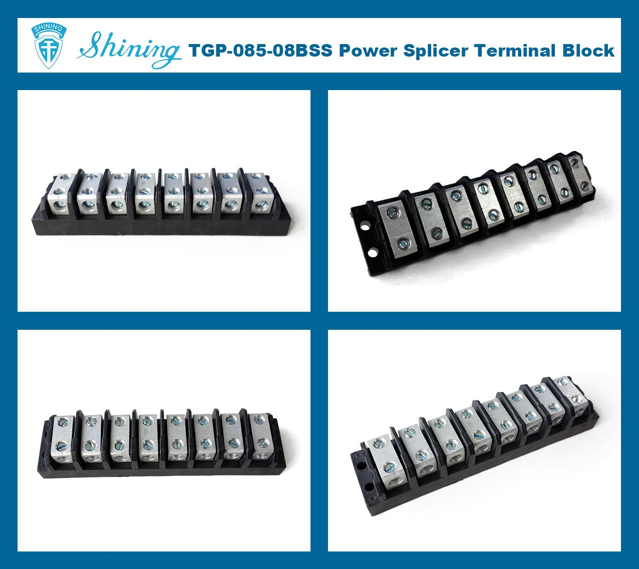 TGP-085-08BSS 600V 85A 8 Way Power Splicer Terminal Block